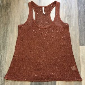 Deep rust colored knit mesh & sequins tank size L.